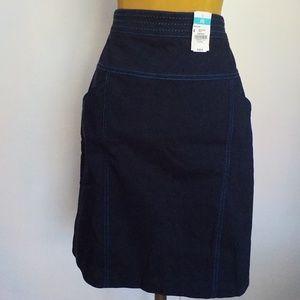 Navy Stretch Straight Skirt Light Blue Stitching